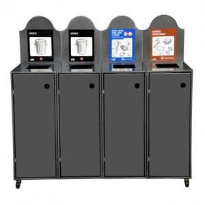 Station de recyclage poubelle 4 compartiments 4 streams recycling station bin Nova Mobilier Modulo-904