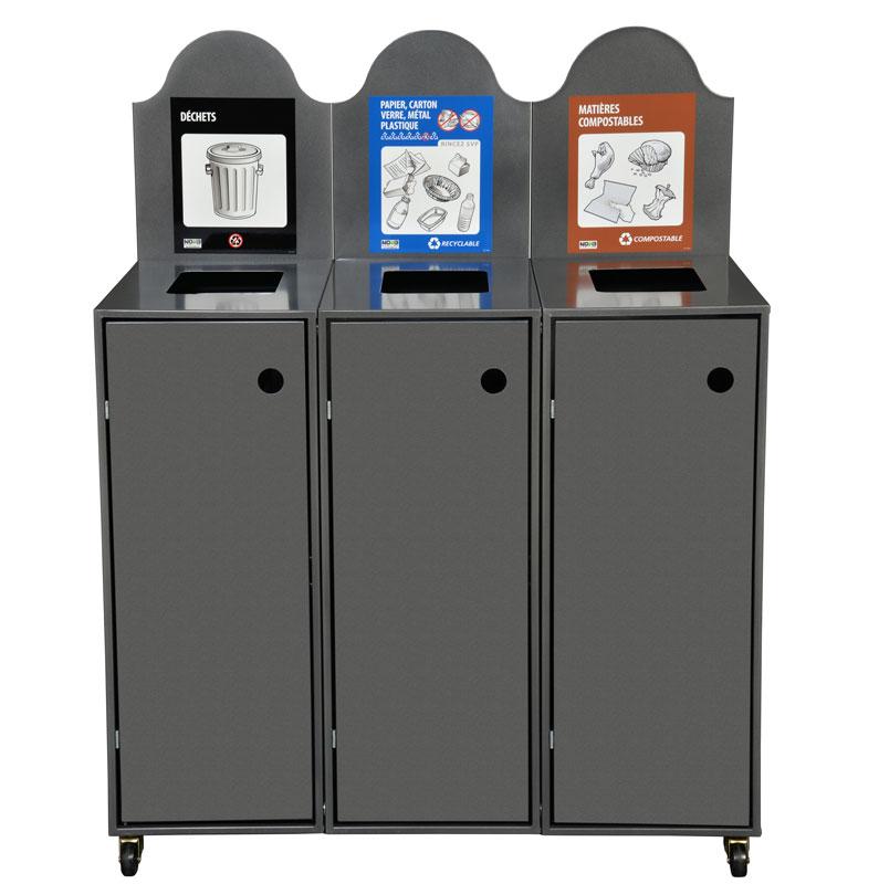 station de d chets recyclage 3 voies modulo nova mobilier. Black Bedroom Furniture Sets. Home Design Ideas