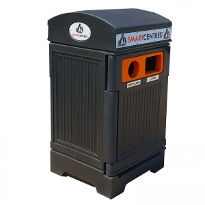 Station poubelle recyclage multi streams recycling container receptacle bin Nova Mobilier PHOENIX DUO 3 web