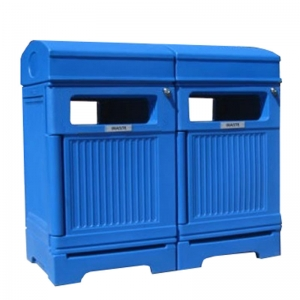 Station poubelle recyclage multi streams recycling container receptacle bin Nova Mobilier PHOENIX DUOL 1 web
