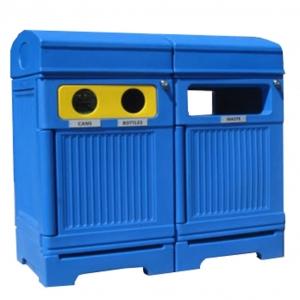Station poubelle recyclage multi streams recycling container receptacle bin Nova Mobilier PHOENIX TRIO 1 web