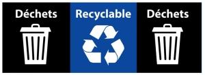 Déchets – Recyclable – Déchets, + 1 plaque noir pour déchets