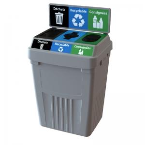 Station dechets recyclable consignées poubelle corbeille FlexE 3DRC bin receptacle Nova Mobilier web