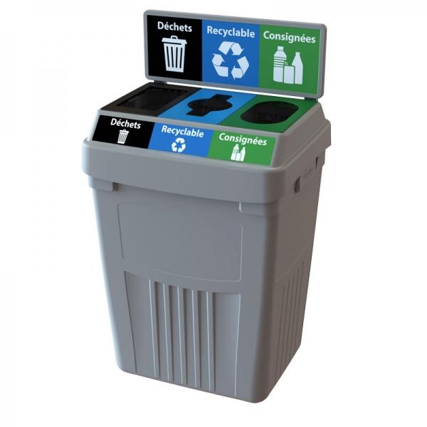 Station de déchets et recyclage 3 voies