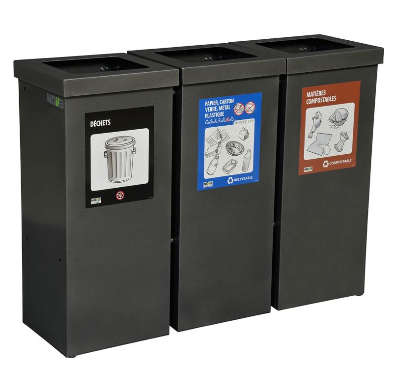 station d chets recyclage 3 voies nova90 3 nova mobilier. Black Bedroom Furniture Sets. Home Design Ideas